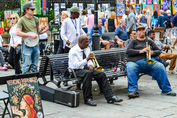 Jazz Musicians Busk in Jackson Square, New Orleans stock photo