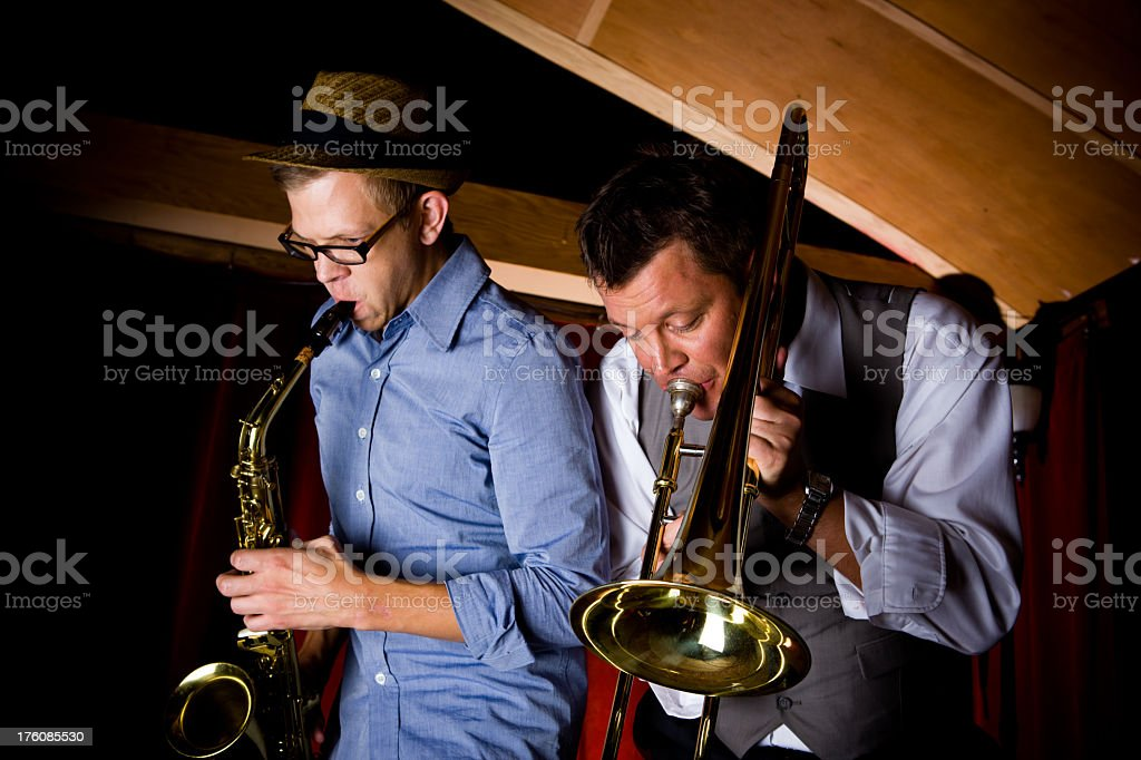 Jazz Musicians Playing On Stage stock photo