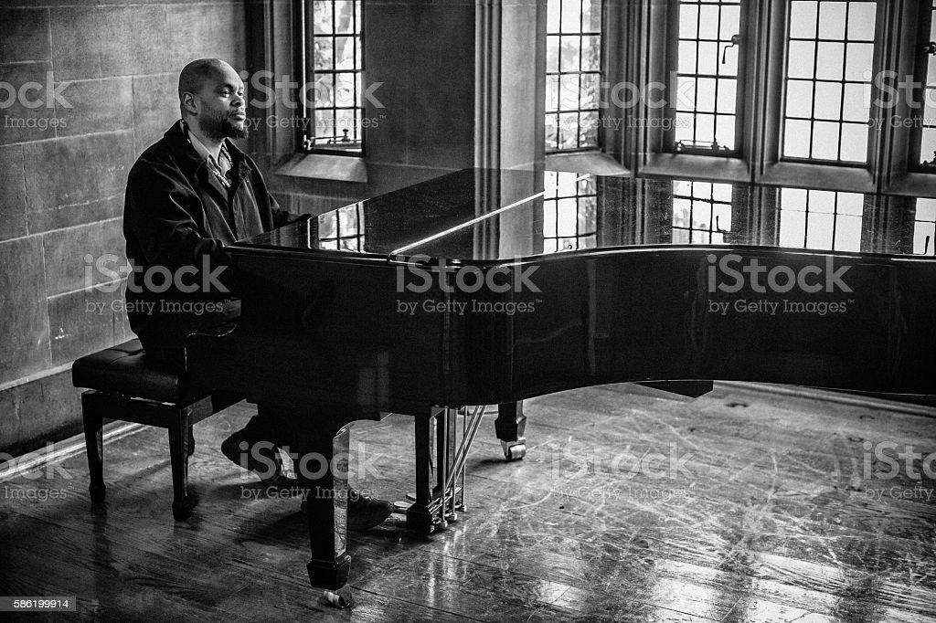 Jazz pianist stock photo