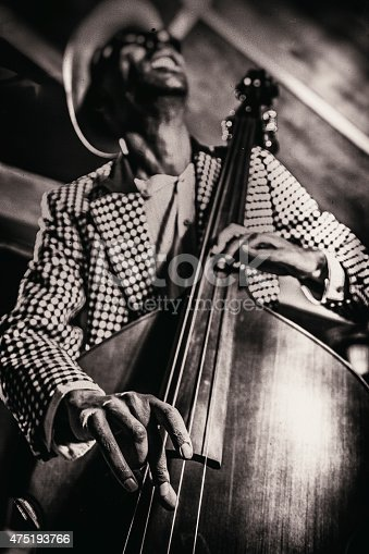 Musician on bass during a jazz concert