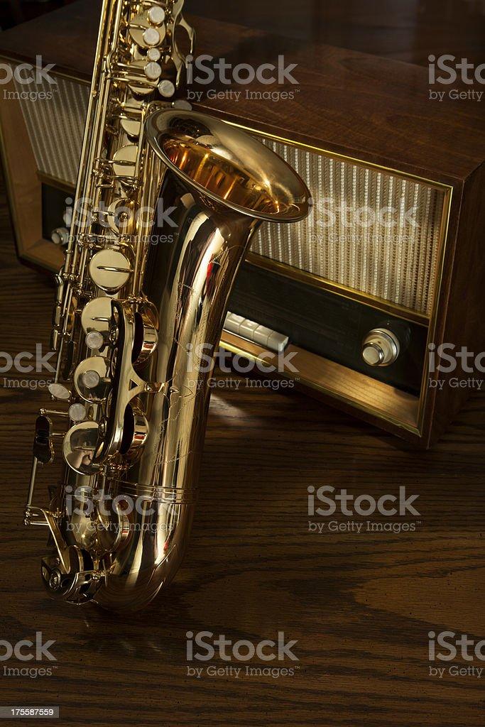 Jazz Saxophone and Vintage Radio stock photo