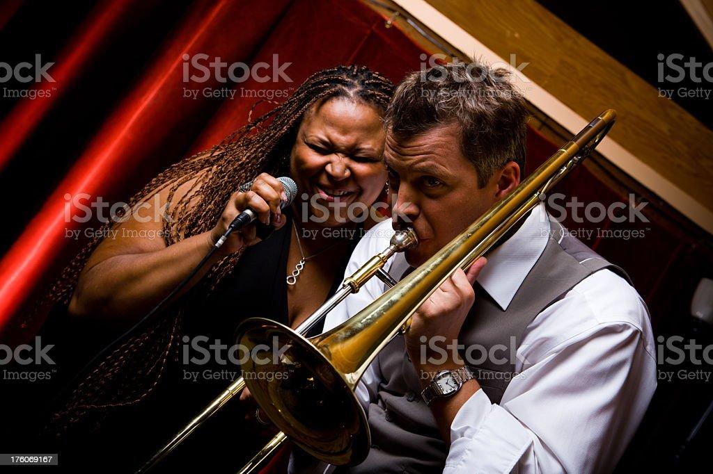 Jazz Singer and Trombone Player stock photo