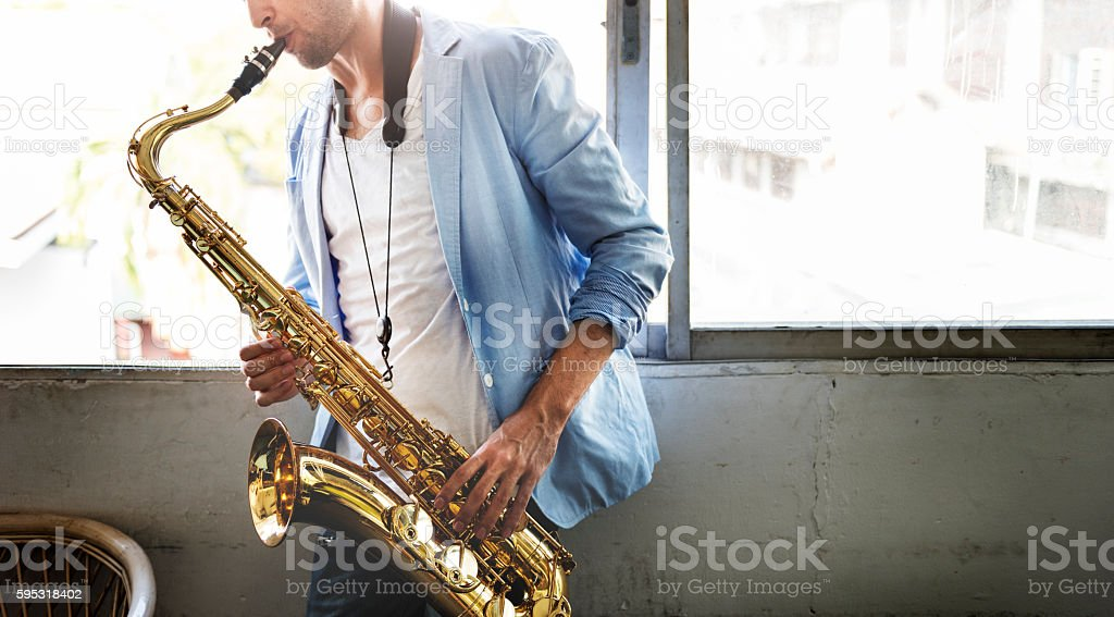 Jazzman Musical Artist Playing Saxophone Concept stock photo
