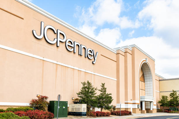 JCPenney department outlet, retail store, retailer, shop in Fair Oaks shopping mall in northern, north Virginia, entrance, facade, road, street, nobody stock photo
