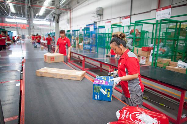 JD. com Personal im Nordosten Chinas nach Berufsventil Lager distribution Center – Foto