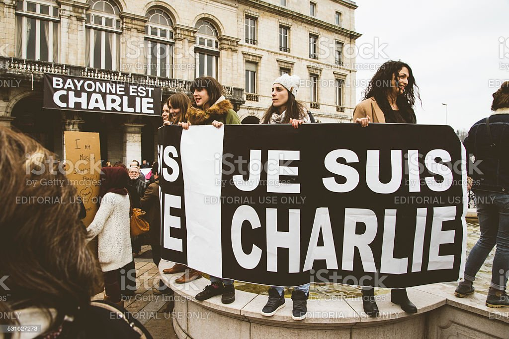 Je suis Charlie, protests in France. stock photo