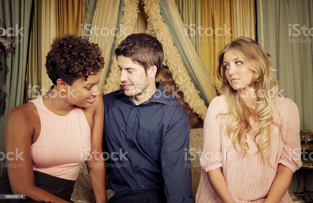 Jealousy in Victorian Room Interior stock photo