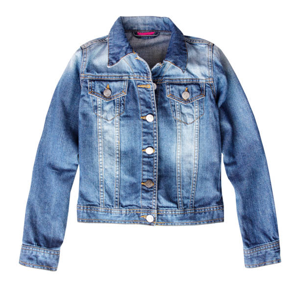 jean denim female jacket isolated. - jacket stock photos and pictures
