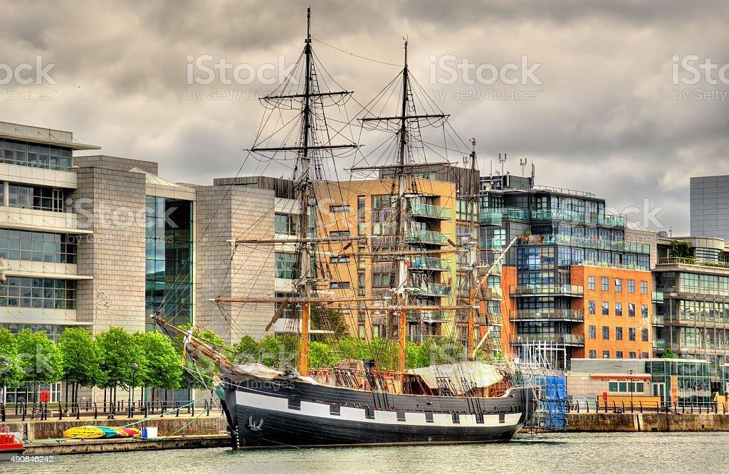 Jeanie Johnston, moored off Custom House Quay, Dublin stock photo