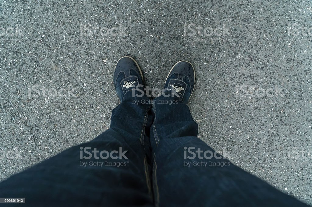 Jeans and sneakers top view royalty-free stock photo