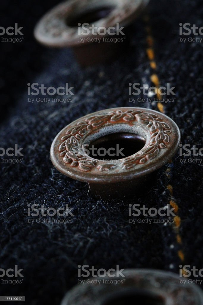 Jeans button detail stock photo