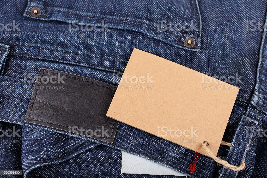 jeans closeup with blank tag stock photo