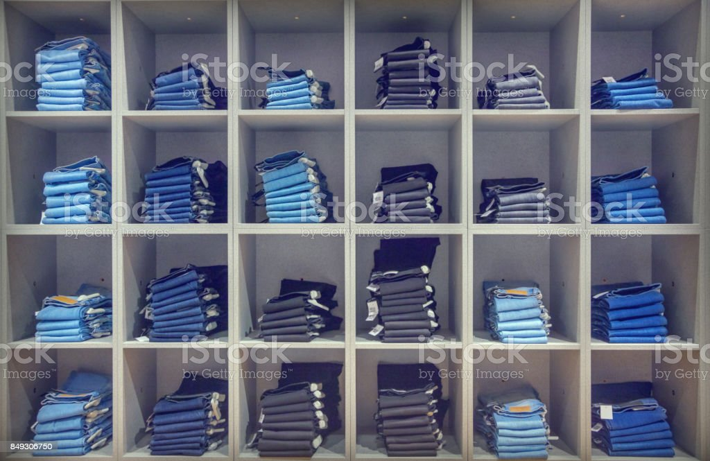 Jeans in the fashion store stock photo