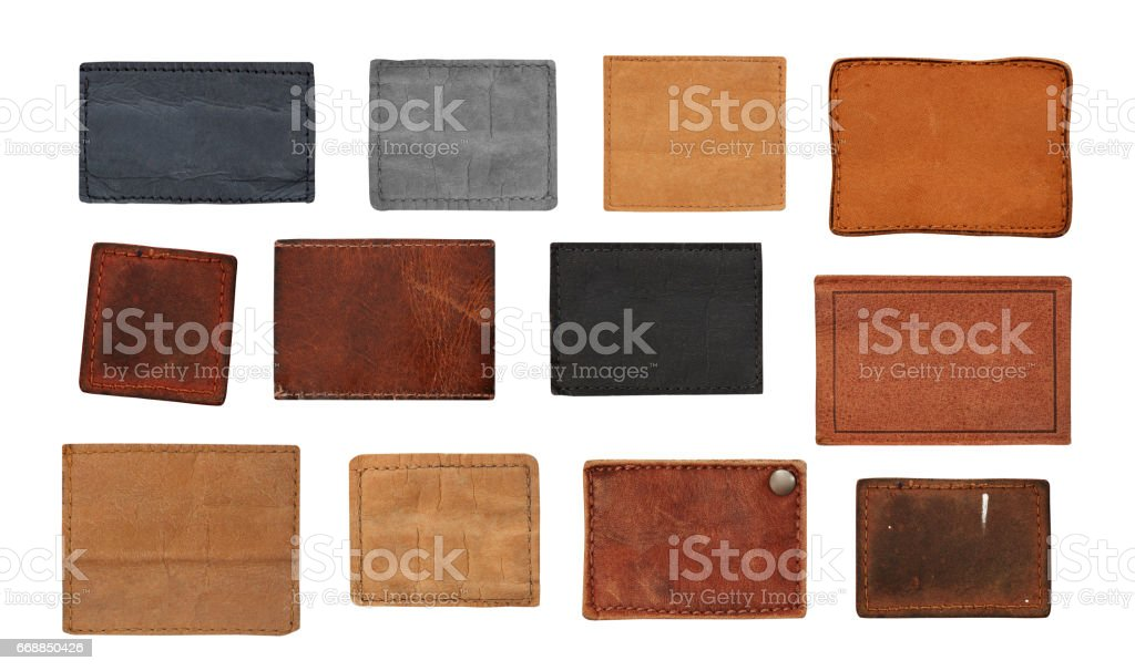 Jeans labels collection stock photo