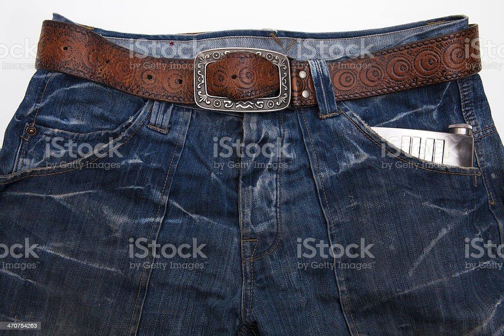 Jeans pocket flask royalty-free stock photo