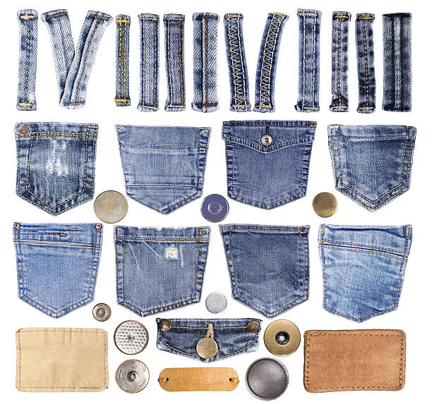 Jeans pockets, loops, buttons and other elements stock photo