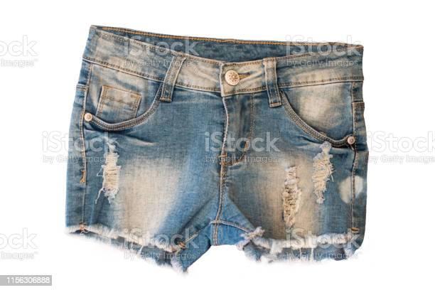 Pantalones Cortos Vaqueros Aislados Pantalones Vaqueros Cortos Con Estilo De Moda Para Nina Aislada Sobre Un
