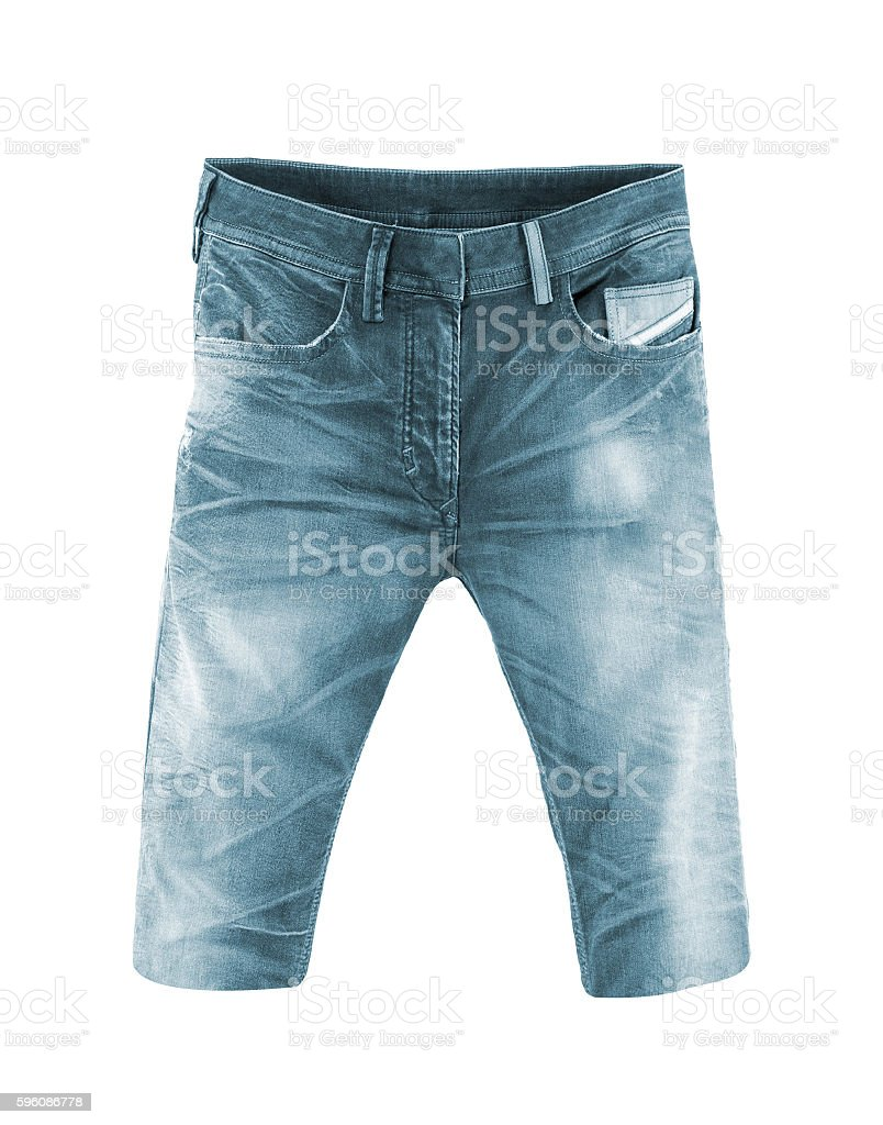 Jeans shorts on a white background royalty-free stock photo