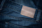 Jeans texture with empty leather label