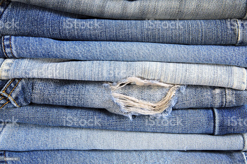 Jeans trousers stack closeup. royalty-free stock photo