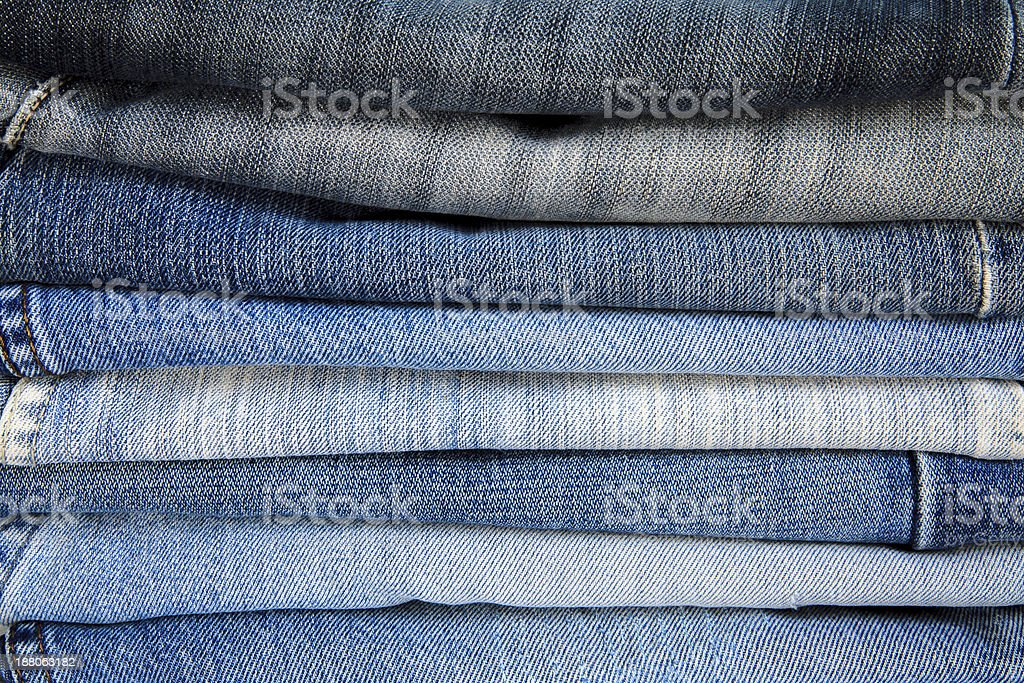 Jeans trousers stack. royalty-free stock photo