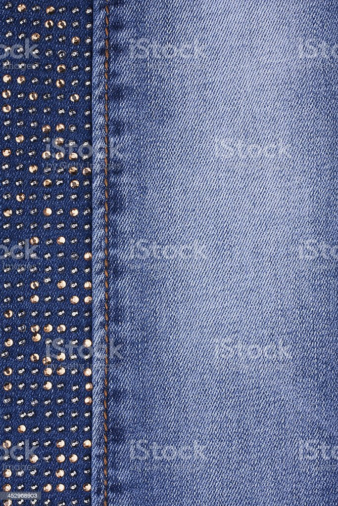 Jeans with yellow crystals royalty-free stock photo