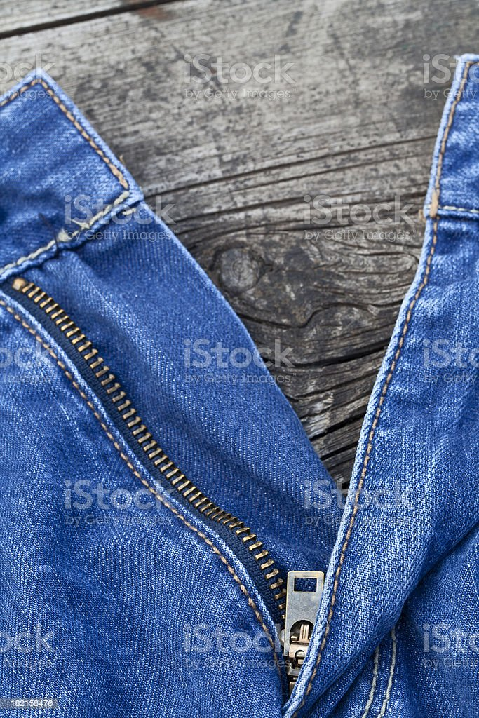Jeans zip royalty-free stock photo
