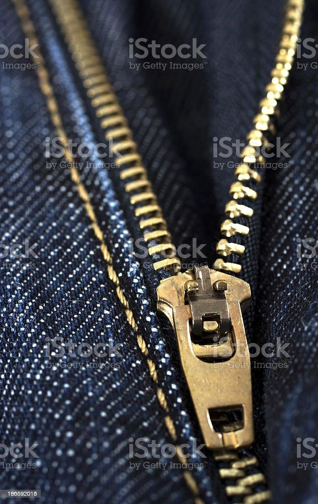 Jeans zipper - closeup royalty-free stock photo