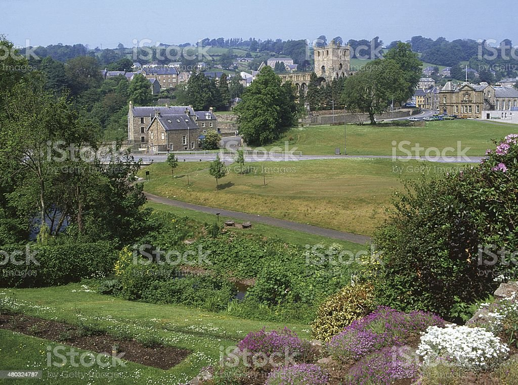 Jedburgh Abbey & Town Scottish Borders stock photo