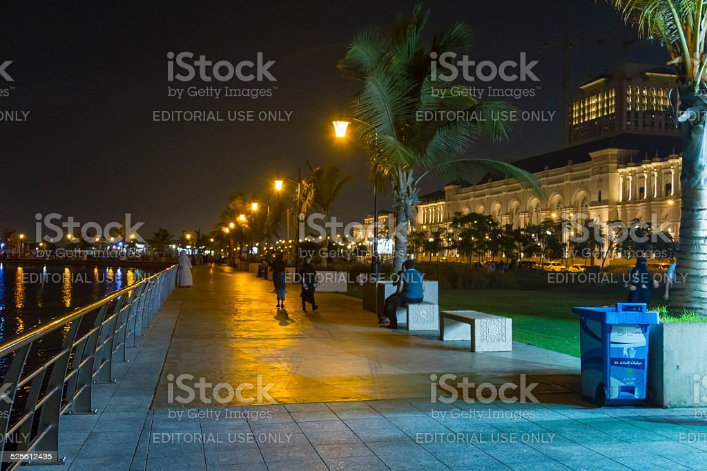 Jeddah Corniche at nigh stock photo