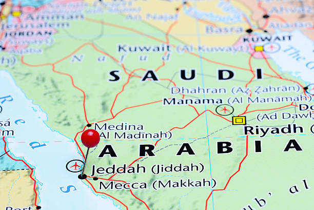 jeddah pinned on a map of asia - saudi arabia map stock photos and pictures