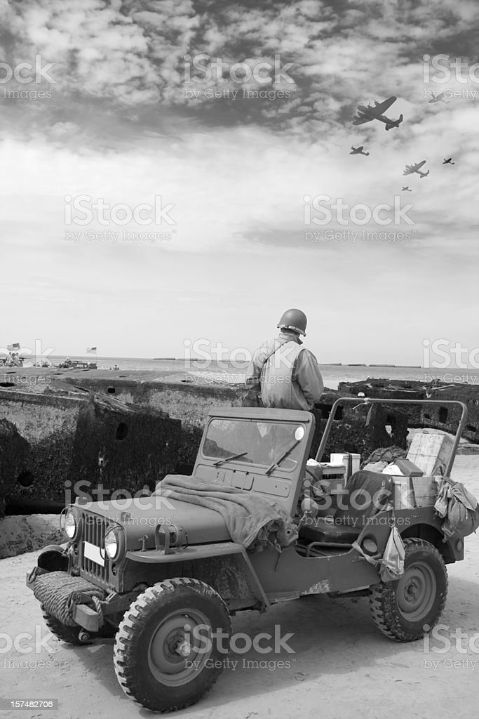 Jeep and planes royalty-free stock photo