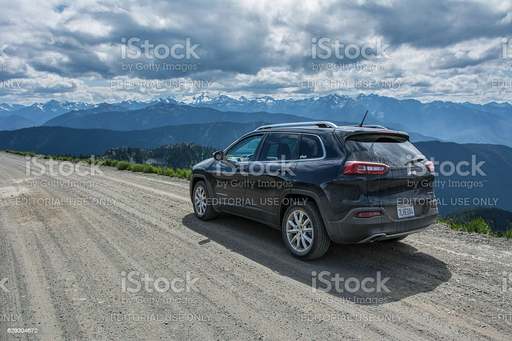 Jeep Cherokee on road in the Olympic National Par stock photo