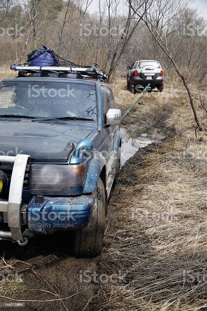 jeep got stuck in the mud royalty-free stock photo