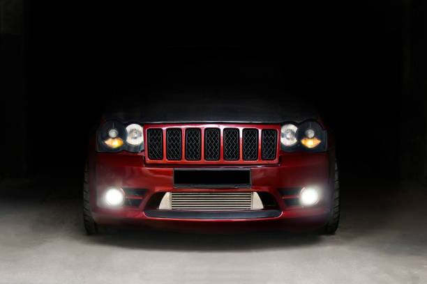SUV Jeep Grand Cherokee SRT8 in the city. Brutal off-road car stock photo