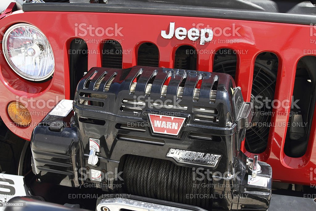 Jeep grille with bumper winch royalty-free stock photo