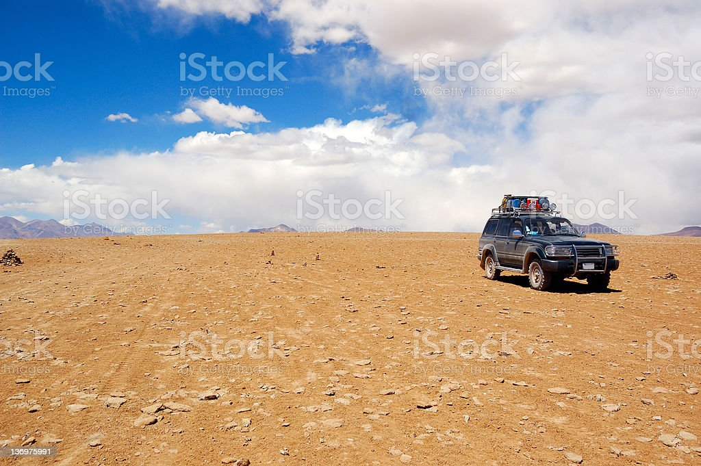 Jeep in desert royalty-free stock photo