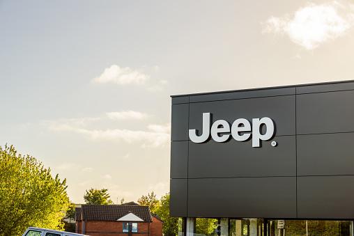 Northampton UK October 3, 2017: Jeep logo sign stand Northampton industrial estate.