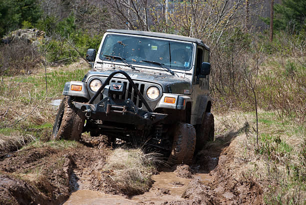 Jeep Off-Road on Muddy Trail stock photo