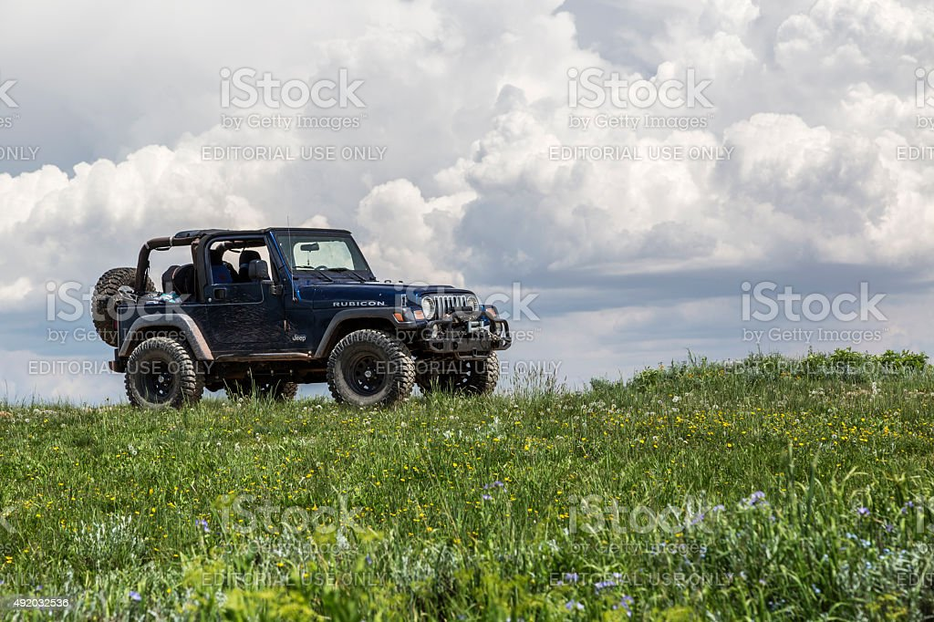 Jeep on a Mountain in Utah stock photo