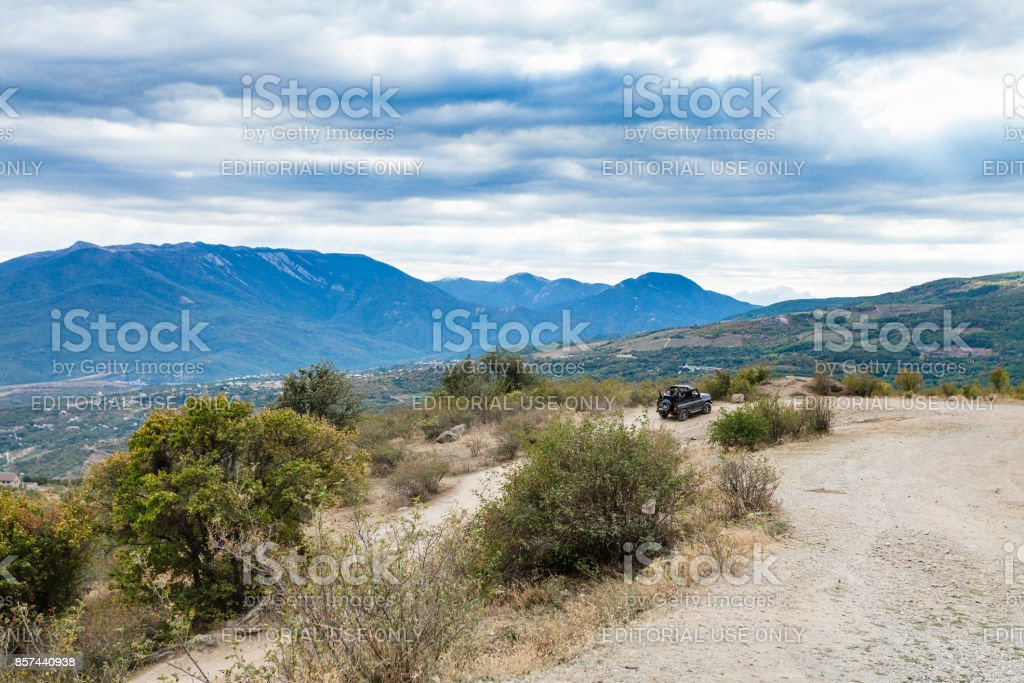 jeep on tour in The Valley of Ghosts in Crimea stock photo