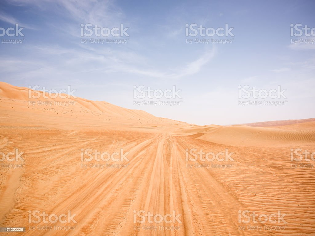 Jeep Trails to the Horizon in Desert Sand Dunes royalty-free stock photo