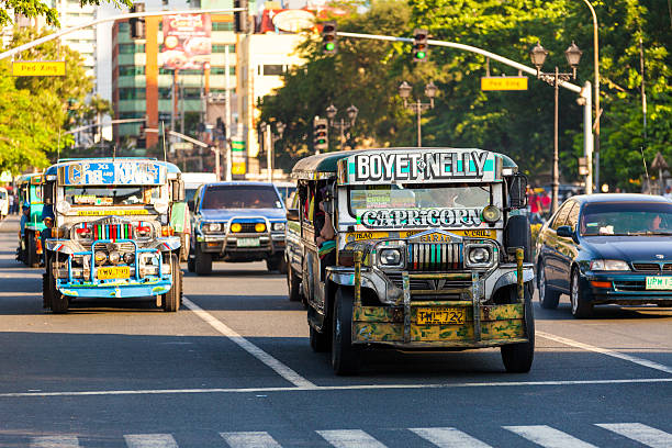 jeepneys in ermita - philippines stock photos and pictures