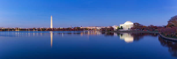 Jeffeerson Memorial and Washington Monument reflected on Tidal Basin in the evening. stock photo