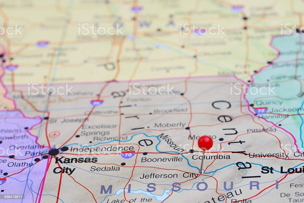 Jefferson City Pinned On A Map Of Usa stock photo 535413571 iStock