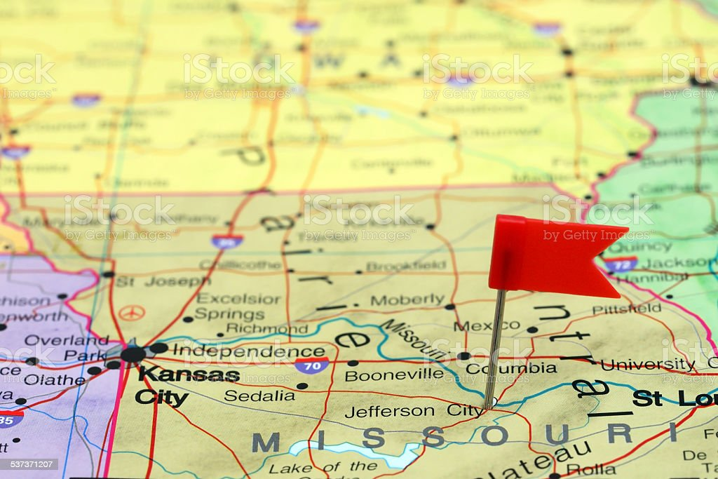 Jefferson City Pinned On A Map Of Usa stock photo iStock