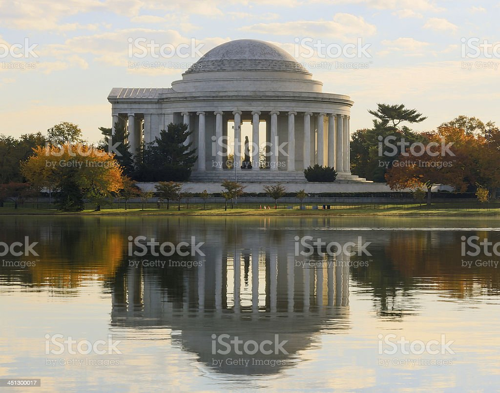 Jefferson Memorial at sunrise in autumn stock photo