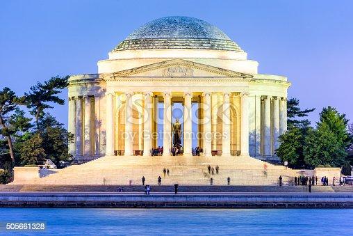 Washington, DC at the Tidal Basin and Jefferson Memorial.