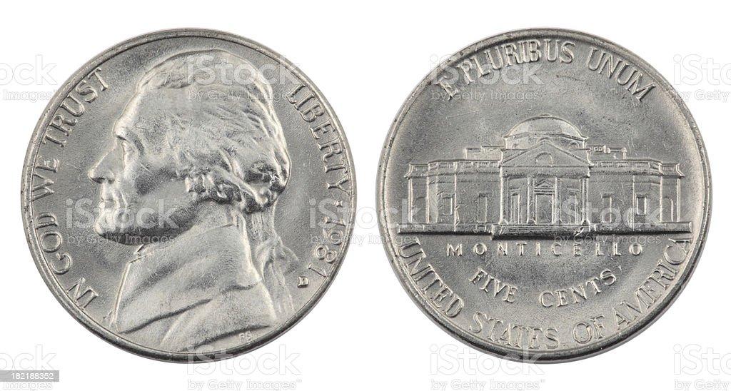 Jefferson Nickel stock photo