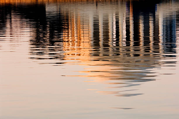 Jeffersonian Sunrise Reflection in Tidal Basin Washington DC stock photo